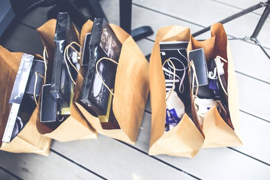 Shopping bags filled with goodies from Market Street in Philadelphia