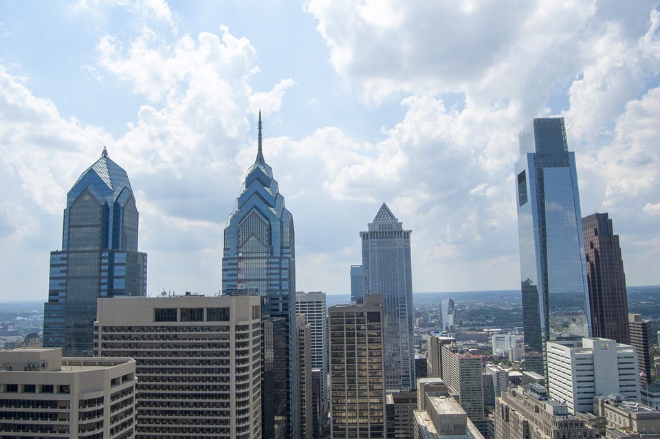 view of Philadelphia's city skyline from a rooftop