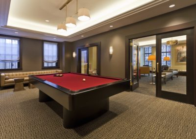 Center City apartments MetroClub with billiards table and games